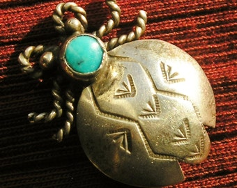 Southwest Stamped Sterling Silver Turquoise Bug Pin