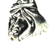Beautiful Art Deco Solid Sterling Silver Wise Man Sculpture Vintage Ring Singed