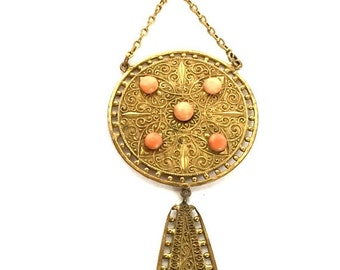 CIJ Christmas July SALE Beautiful Renaissance Art Nouveau Turkish Coral Gold Fill Vintage Antique Lavaliere Necklace