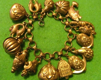 Rare GoldFill Puffy Charm Victorian ETRUSCAN Antique Cha Cha Fob Bracelet
