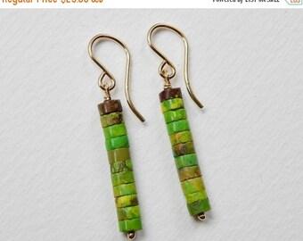 Green Turquoise Earrings - Heishi Beaded Earrings Gold Filled Beadwork Earrings Bar Dangle Earrings