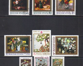Still Life Fine Art Postage Stamps - Vintage and Modern Stamps - for scrapbooking, collage, mail art, altered art
