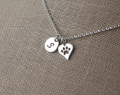 Small initial and heart shaped paw print charm necklace in sterling silver, heart charm, cat paw, dog paw, cat jewelry, dog jewelry, pets