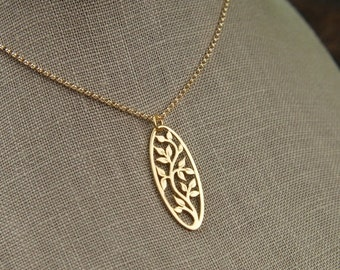 SALE 15% OFF Oval gold tree of life pendant and gold filled necklace, gold tree pendant, gold necklace, gold jewelry