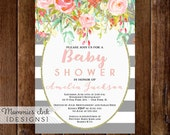 Baby Shower Invitation, Watercolor Flowers Invitation, Floral Invitation, Gray and White Stripes Invite, Shower Invite, Modern Invite