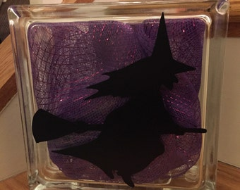 Halloween Lighted Glass Block - Witch