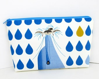 Make Up Cosmetic Zipper Pouch, Dolfun, Blue Dolphins Sea Turtle Water Drops, Organic Fabric Bag
