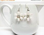 SALE White Snowflake Earrings - Pink and White Snowflake Earrings - Small Snowflake Earrings - Holiday Earrings - Christmas Jewelry - Gift I