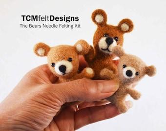 Needle Felting Kit, The Bears Advanced Beginner/Intermediate Level Fiber Art Kit