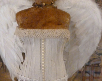 Vintage Inspired Tabletop Dress Form Angel Wings Bridal Shower Centerpiece Decor