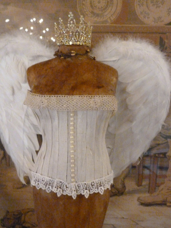 Items similar to vintage inspired tabletop dress form for Angel wings wedding dress