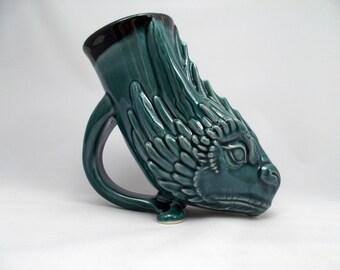 Mother of Dragons Drinking Horn Style Mug, Original Design Dragon Sculpture Drinking Vessel,  Sci-Fi/Fantasy Art Costume Mug Renfaire Mug