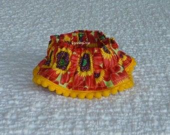 """Red Daisies Dog Scrunchie Collar - dark yellow tiny pom pom trim - Size XS: 10"""" to 12"""" neck"""