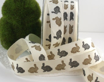 """Bunny Printed Ribbon, 3/4"""" wide Cotton Ribbon by the yard, Gift Wrapping, Sewing, Scrapbooking, Cotton Trim, Party Supplies, Crafts"""
