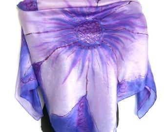"Hand Painted Silk Scarf, Floral Silk Scarf Handpainted, Deep Purple Rose Quartz, 35"" Square Silk Scarf, Gift For Her"