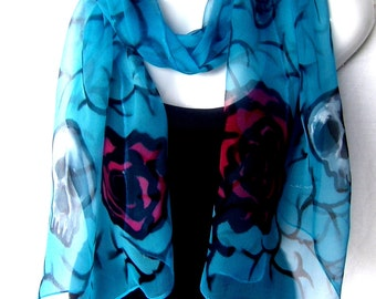 Hand Painted Silk Scarf, Skulls And Roses, Turquoise Blue Black Red, Chiffon Silk Scarf, Goth, Steampunk