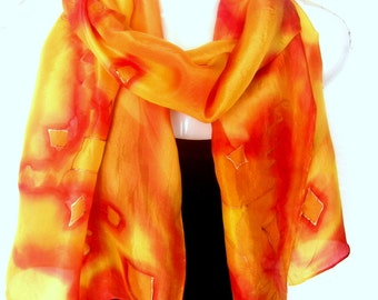 "Hand Painted Silk Scarf, Orange Red Yellow Silk Scarf Handpainted, Abstract, 71"" x 18"", Gift For Her"