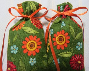 "Green 3""X2"" Sachet-'Kim Kardashian Glam(type)' Fragrance-Colorful Summer Orange Sachet-Orange Ribbon-Cotton Floral Sachet-Cindy's Loft-262"