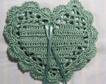 Light Sage Green Heart Sachet-Your Choice of Fragrances-Blue Green Heart Sachet-Hand Crocheted-Herbal-Cotton and Satin-Cindy's Loft