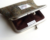 Harris Tweed Coin Purse in traditional brown and green herringbone