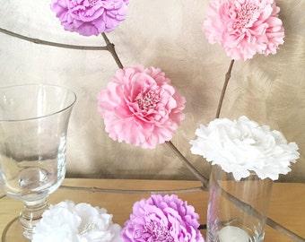 6 Pieces Set. 4.2inch Romantic White Pink Lavender Peonies Artficial Flowers Decor. Baby Girl Shower Decor. Rustic Wedding Decoration