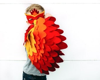 Childrens Fire bird Costume, Phoenix Costume, Bird Wings and Mask Kids Halloween Dress up Toy, Girls and Boys, Toddlers