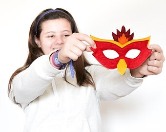 Phoenix Mask, Fire Bird Mask for Kids, Halloween Costume Accessory for Boys and Girls, Children Pretend Play Toy Toddler