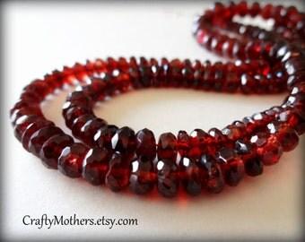 "MOZAMBIQUE Red GARNET Faceted Rondelles, 6-6.5mm diameter, 3"" strand, crimson, natural gemstone"