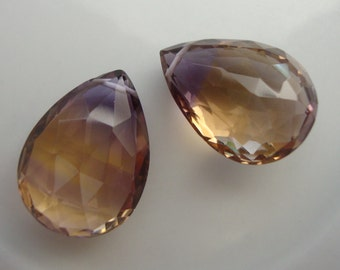 One Pair Large AAA All Natural Ametrine Pendant Size Focal Briolettes
