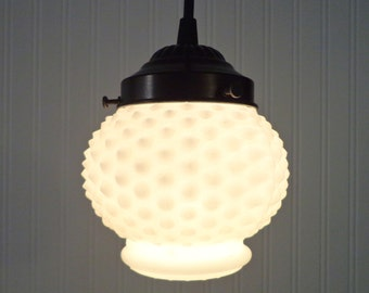 Sweet. Vintage Milkglass Hobnail Globe PENDANT Light