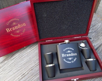 6 Personalized Groomsmen Gift Ideas, Custom Engraved Gfit for Guys, Flasks with Names Initials, Wedding Flasks Engraved Cases LGO