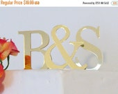ON SALE Gold Mirror Two Initials Cake Toppers for Wedding Cake, Cake Toppers for Weddings