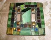 MOSAIC LIGHT SWITCH Plate Cover - Double, Green, Boho, Wall Art