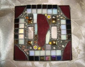 MOSAIC LIGHT SWITCH Plate Cover - Double, Multicolor, Wall Art, burgundy, Iridescent White, Iridescent Black