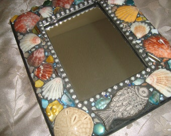MOSAIC MIRROR, Accent Mirror, Wall Art, Accent Mirror, Shells, Beach Theme