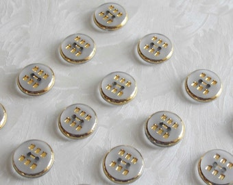 24  very pretty 2-hole  glass buttons with beautiful  frosted surfaces and fine golden trim - (15.5 mm - 5/8 in.)
