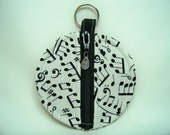 Ear Bud Pouch in Making Music in Black and White - Coin Pouch - Key Pouch - Purse Accessory - Ready To Ship