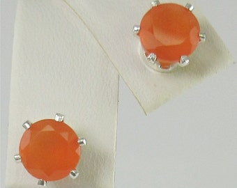 Faceted Carnelian 7mm 2.30ctw Sterling Silver stud Earrings