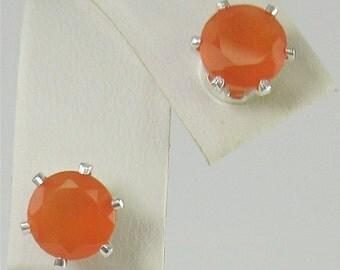 Faceted Carnelian 7mm 2.30ctw Sterling Silver stud Earrings
