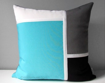 Black & Blue Outdoor Pillow Cover, Decorative Turquoise Grey Color Block, White, Modern Throw Pillow Cover, Sunbrella Pillow Cushion Cover