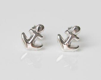 Anchor earrings, sterling silver studs, silver anchor, nautical, sailor, anchor studs, boat lovers gift, simple classic jewelry - Catalina