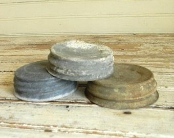 Vintage Canning Jar Lids, Zinc Lids with Porcelain Caps, 1930s Canning Jar Lids, Ball Jar Lids and Caps, Farmhouse Decor, Re Purpose, DIY