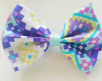 Colorful Hair Bow, Purple Girls Hair Bow, Abstract Hair Bow, Fabric Hair Bow