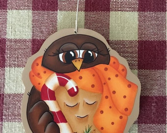 Brown Owl Holding Candy Cane Hand Painted Wood Christmas Ornament