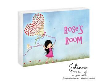 Kids Room Sign Custom Girls Door Sign Personalized Kids Room Wall Art Door Plaque Children's Personalized Gift Decor Hearts Balloon Art