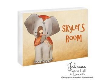 baby elephant nursery decoration, personalized elephant nursery art, girls room door sign, custom name door plaque for girls bedroom, pink