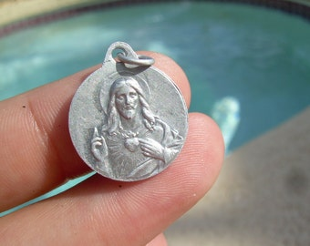 Antique Sacred Heart of Jesus and Our Lady of Mount Carmel Catholic Medal - France, AP, Lasserre