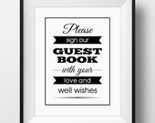Guest Book Sign, Banner Wedding Guest Book Sign - PRINTABLE Instant Download, Anniversary Guest Book Sign, Well Wishes Poster, 3 Sizes