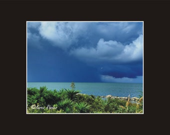 Squall Line on pamlico Sound off Ocracoke Photographic Print matted in black North Carolina