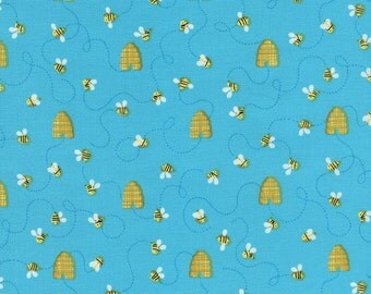 Timeless Treasures Novelty Fabric Little Yellow Baby Bumble Honey Bee Bees